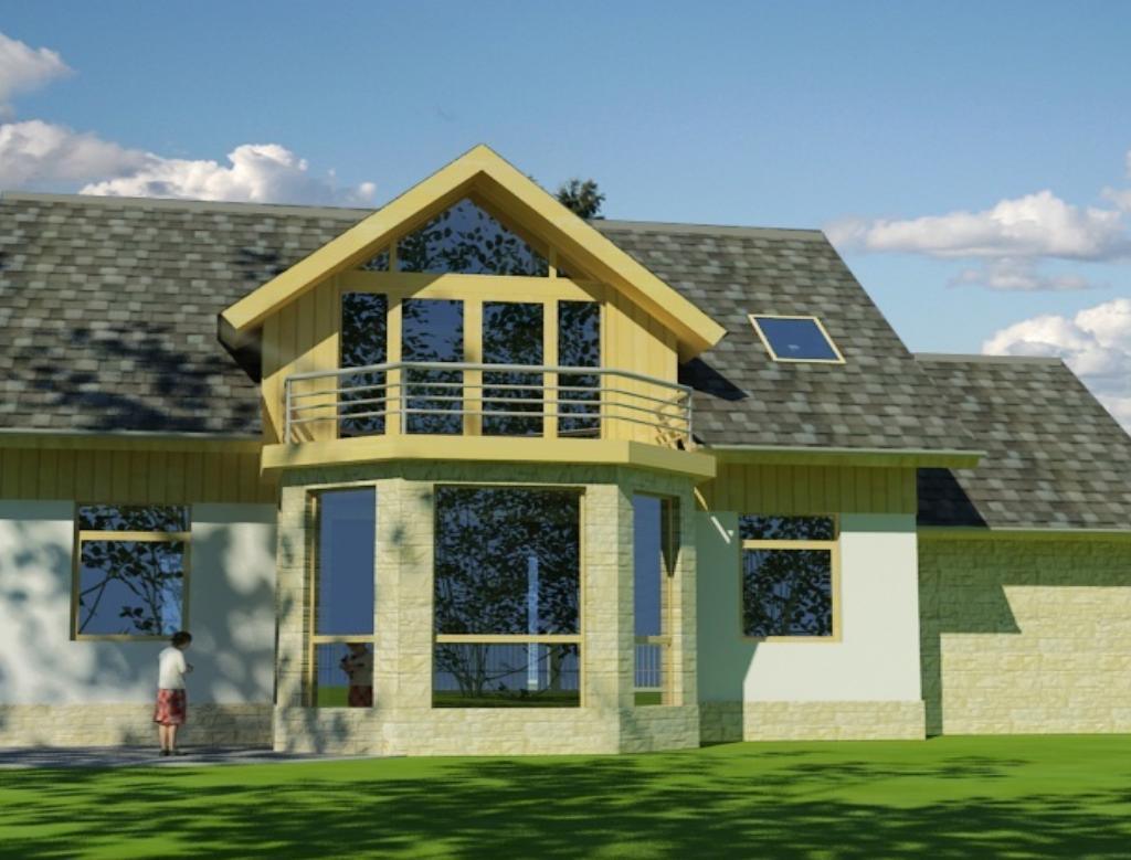 murovany poschodovy dom na kluc topolcany - Rodinný dom CESIS - zadný pohľad