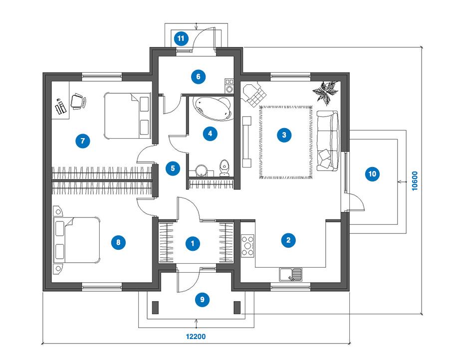 dom na kluc topolcany- Rodinný dom MIA - pôdorys